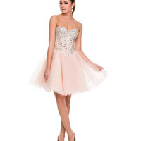 Nude Crystal Embellished Strapless Sweetheart Short Dress 2015 Homecoming Dresses