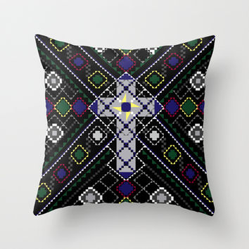 Tribal Cross II Throw Pillow by Shawn Terry King