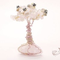 Rose Quartz, Pink Wire, Silver Flowers, Tree of life Sculpture, Gemstone Art, Pink Tree, Tree Decor, Pink stone, Crystal Garden, Pink Tree