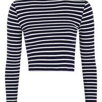 Stripe Funnel Neck Top - Topshop