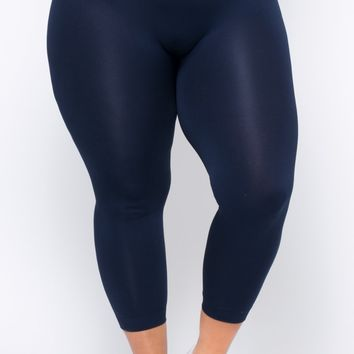 Plus Size Fleece Lined Seamless Leggings - Navy