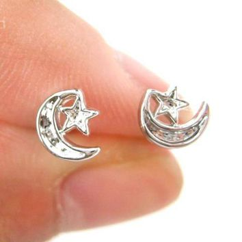Classic Moon and Stars Shaped Plastic Post Stud Earrings | ALLERGY FREE