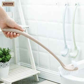 Long Handle Soft Swab Room Toilet Bathtub Scrub Cleaning Brush Plastic Double Side Holder Hanging Washing Room Groove Cleaner