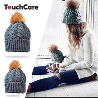 TouchCare 2Pcs Crochet Beanies Infant Baby Mother Fur Ball Hats Autumn Winter Warm Toddler Parent-Child Hat Knitted Wool Caps