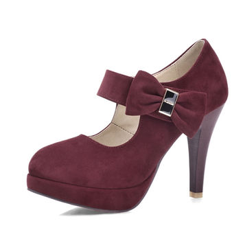Round Toe Platform Woman Pumps Big size 32-42 Women Mary Jane Sweet Bow tie Party Wedding Shoes 2016 Sexy High Heels