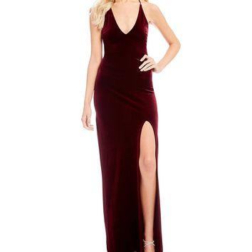 Teeze Me Deep V-Neck Velvet Long Dress | Dillards