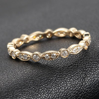 Art Deco Antique Style .32ct Diamond Milgrain 14K Yellow Gold Wedding Band Ring