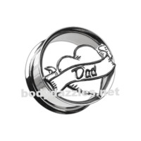 'I Heart Dad' Hollow Steel Double Flared Ear Gauge Plug Body Jewelry