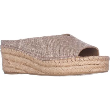 Franco Sarto Pine Espadrille Slip On Wedge Mules, Platinum, 8 US / 38 EU