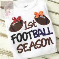 Baby Girl House Divided Football bodysuit -- 1st Football Season -- size Newborn to 24m -- CHOOSE colors to match TWO TEAMS