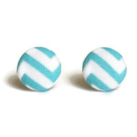 Light blue earrings, chevron earings, light blue fabric, chevron fabric, chevron earring, chevron earrings, light blue earring, fabric