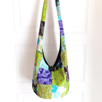 Sling Bag, Patchwork Hobo Bag, Purple, Green, Blue, Floral, Hippie Purse, Crossbody Bag