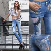 The new summer trousers elastic large size women Slim Skinny Pants waist wear jeans.