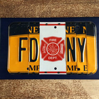 FDNY Custom Recycled License Plate Art Sign FDNY firefighter gift retirement gift retirement present fireman gift