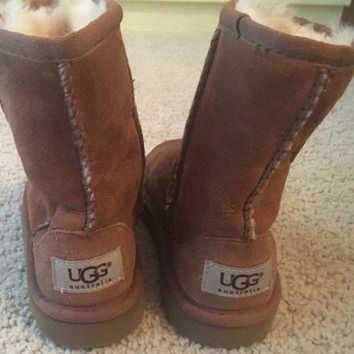 CHEN1ER Girls size 10 brown ugg boots fur toddler shoes