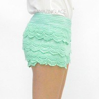 Mint Teal Lace Scalloped Shorts Pretty Summer Lace Ruffles Crochet Dress Shorts