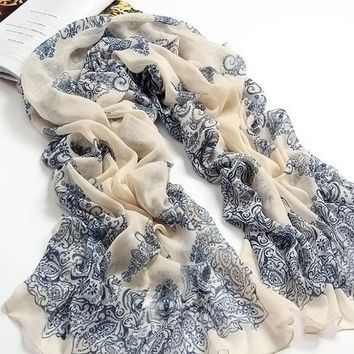 Beady Silk Scarf Blue Victorian Design - White with Blue