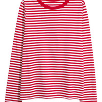 Striped jersey top - Red/White striped - Ladies | H&M GB