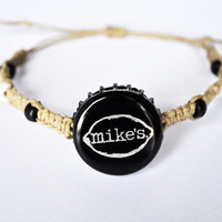 Mike's Hemp Bracelet, Hard Lemonade Recycled Bottle Cap, hemp jewelry, Unique jewelry, Black and Silver