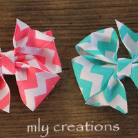 Chevron PinWheel Hair Bow, Pink chevron, turquoise chevron, toddler hair bow, baby hair bow, chevron boutique hair bow, basic hair bow,