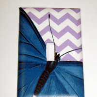 Light Switch Cover - Light Switch Plate Butterfly Purple Chevron Zig Zag