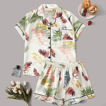 Tropical Print Satin Pajama Set