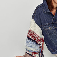 DENIM JACKET WITH CONTRASTING SLEEVES
