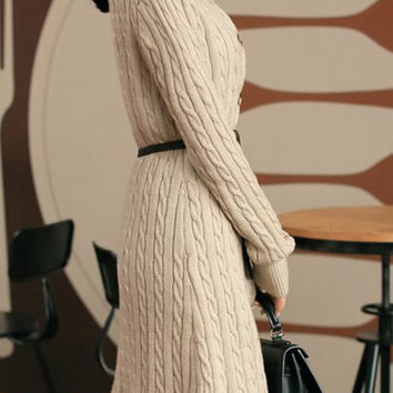 Apricot Cable-Knitted Long Sleeve Dress
