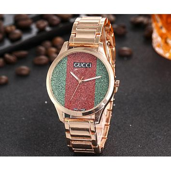 GUCCI 2018 men and women red and green striped waterproof quartz watch F-JYXCX-Y Rose gold