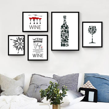 1 pcs cheap modern paintings Simple modern black and white combination bar-cafe mural paintings Art Print Painting Poster wine