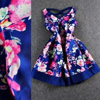 Blue V-Neck Sleeveless Floral Print Cross Back Swing Mini Dress