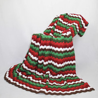 Woodland Christmas Afghan - Queen Size Crochet Blanket - Double Stitch Throw in Brown Green Tones and Red Tones - Striped Afghan