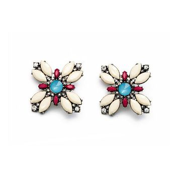 Stellate Flower Clip-On Earrings