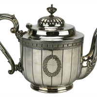 Silver Plated Teapot Antique English Victorian 19th Century