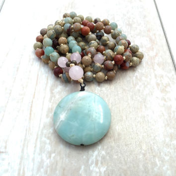 Amazonite And Rose Quartz Mala Beads, African Opal Knotted Mala, 108 Bead Mala Necklace, Boho Jewelry, Yoga Necklace, Gemstone Prayer Beads