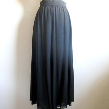 Vintage 1980s Dress Pants Mondi Black Chiffon Evening Holiday Palazzo Pants 42 US12