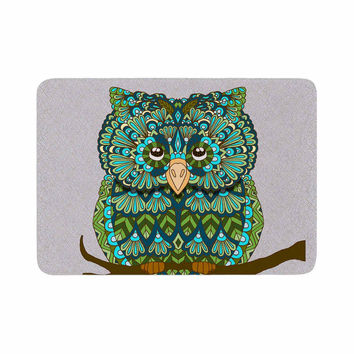 "Art Love Passion ""Great Green Owl"" Teal Gray Memory Foam Bath Mat"