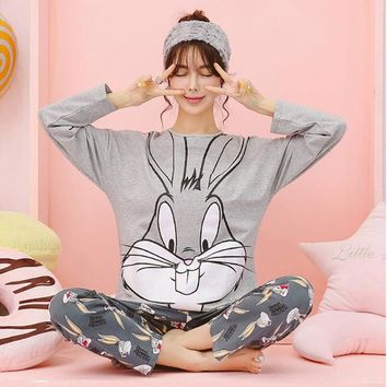 Women Clothes for Summer Pajamas Sets O-Neck Sleepwear Starling rabbit Printed long sleeves can be worn out of home wear