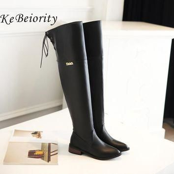 KEBEIORITY 2017 Autumn Spring Long Boots Women Flat Heel Over the Knee Boots Female La