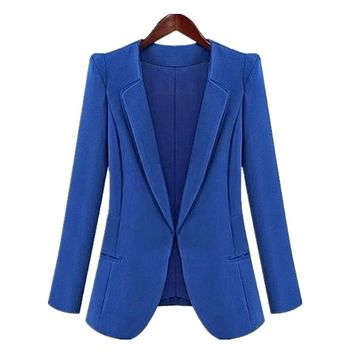 Hot Sale! New Plus Size Fashion Jacket Blazer Women Suit Shrug Long Sleeves Lapel Coat Blue And Black None Button Vogue Blazers