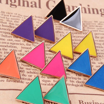 New Fashion Vintage Stunning Colorful Candy-colored Earrings Geometric Triangle Jewelry