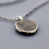 Etched Labyrinth Necklace Sterling Silver Nugget by lisahopkins