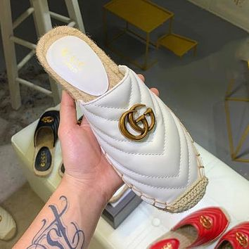 GUCCI Summer Popular Women Leather Half Slipper Mules Shoes White
