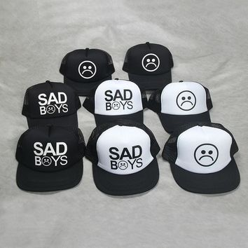 Fashion SAD BOYS Print  Trucker Cap Men Baseball Hat Bone gorras Women sun hat sadboy Free shipping Black Flat Bill trucker hat