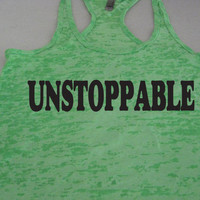 UNSTOPPABLE Womens Fitness. Crossfit. Bootcamp. Kickboxing. Motivation. Running. Workout Tank Top WorkItWear