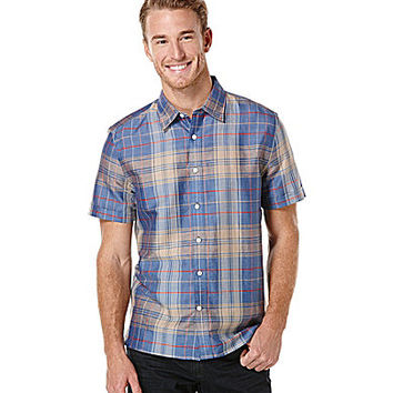 Perry Ellis Short-Sleeve Plaid Woven Shirt - Delft