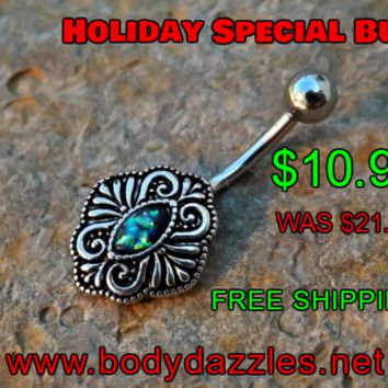 Green Opal Vintage Belly Button Ring Navel Piercing 14ga Body Jewelry Navel Jewelry 316L Surgical Steel Belly Button Body Jewelry