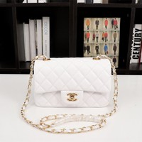 HCXX 19July 049 A1116 Chain Emboss Single Shoulders Bag Classic Logo size 20-12-7cm white gold