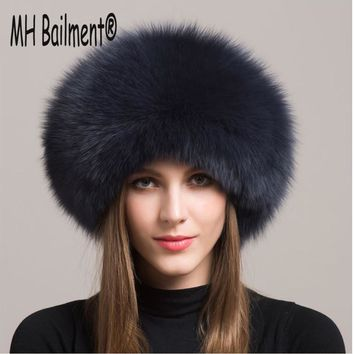 2017 Women Real Fox Fur Hat Winter Warm Thick Fur Cap Genuine Natural Fur with Sheepskin Top Bomber Solid Hats H#21