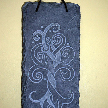 Tree of life symbol black stone panel hand carved slate wall hanger home decor